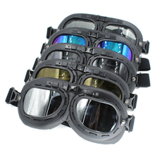 BLACK Color GOGGLES Glasses With LENS WWII RAF VINTAGE PILOT For MOTORCYCLE BIKER CRUISER HELMET For Harley(China)