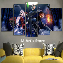 5Piece Canvas Pictures Prints Calligraphy Painting Movie Posters Nightmare Before Christmas Wall Art Home Decor For Living Room