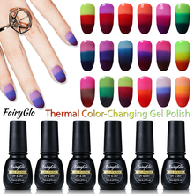 FairyGlo 7ml Gel Polish Thermal Changing Color Soak Off UV Builder Gel Acrylic Nail Panit Hybrid Lacquer Gel Nail Polishes Lucky