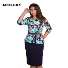 Buy ECOBROS Big size 6XL 2017 Fat MM Woman Summer Dress Loose printing knee dresses without belt plus size women clothing 6xl for $14.39 in AliExpress store