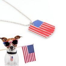 Blank Dog ID Tag  Name Pendant Independence Day ID Tag America Flag Rectangle Shape Pet Neckalce Pet Accessories
