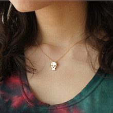 N124-5 Cute Skeleton Pendant Necklace Skull Tiny Jewelry Women Clavicle Necklaces Collares Accessories