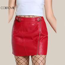 COLROVIE Red PU Leather Mini Pencil Skirt Buckle Strap Waist Women Sexy Club Skirts 2017 Empire Zip Up Casual Hot Summer Skirt(China)