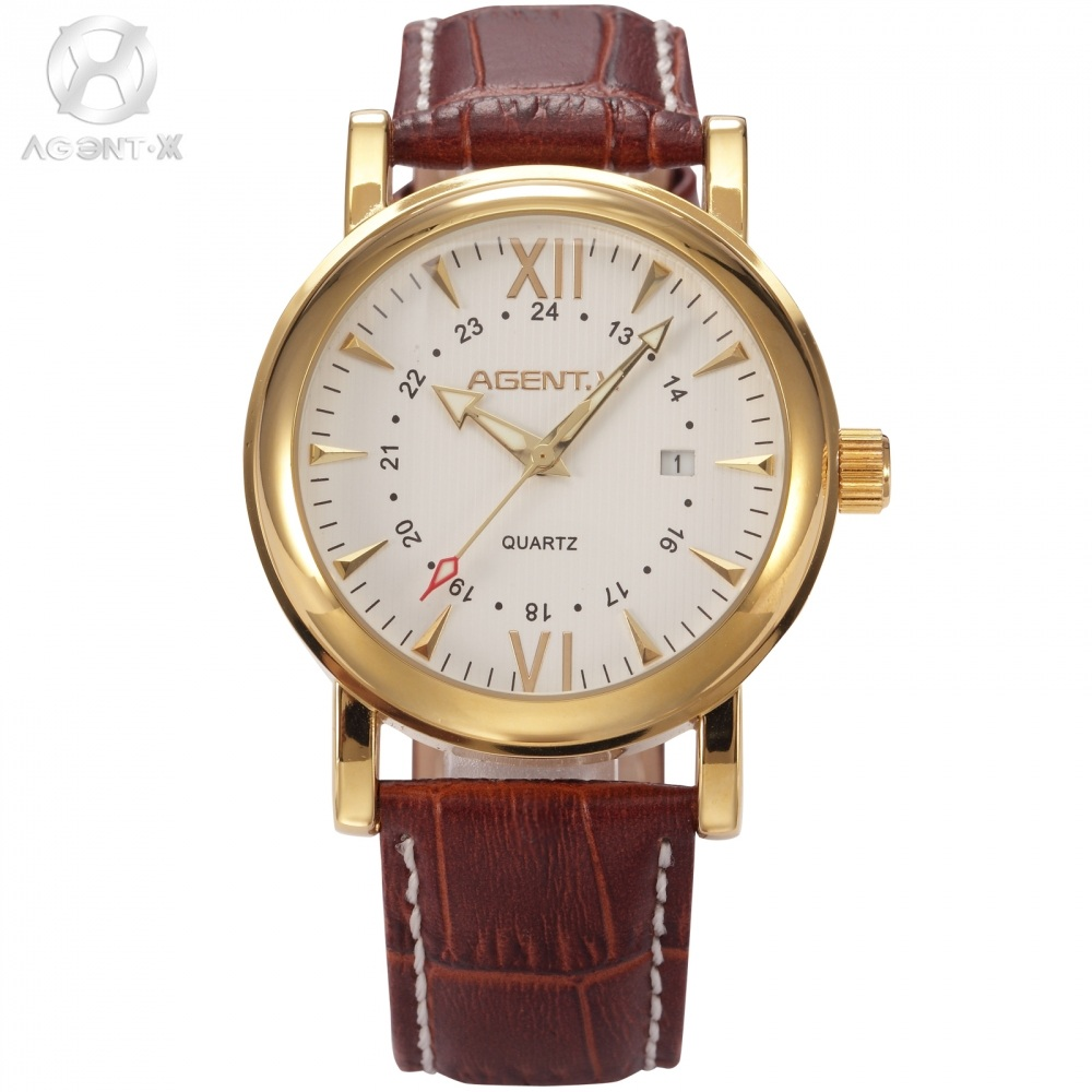 Original AGENTX Auto Day Display Gold Stainless Steel Case Leather Strap Business Wristwatch Male Clock Dress Watch Gift /AGX012<br>
