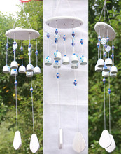 Antique China Blue And White Porcelain 7 to 5 Bells Large Solid Wood Ornaments Gifts Door Yard Hanging Wind Chime Home Decor(China)
