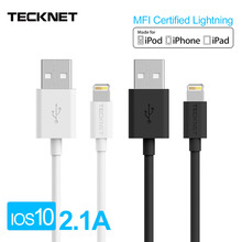 TeckNet MFI Certified Lightning Cable 1M USB Charger Cable for IOS10 iPhone 5 6 6S 7 7Plus iPad iPod 2.4A Fast Charge Data Cable(China)