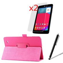 "4in1 Luxury Magnetic Folio Stand Leather Case Cover +2x Screen Protector + Stylus For LG G Pad 8.0 V480 GPad 8.0 V490 8"" Tablet(China)"