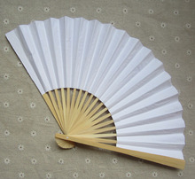 Free Shipping 200 pcs/lot 23 cm White color Paper Hand Fan Wedding Party Decoration Promotion Favor #RGZ38