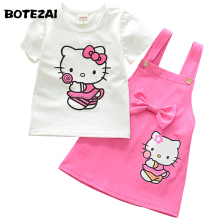 BOTEZAI Girls Hello Kitty Korean Kids Clothes Children Suits Summer Baby Girl Clothing Sets Party Pink 2pcs Skirt Set Christmas(China)