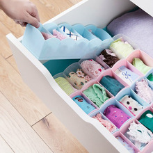 1pc Candy Color 5 Grids Plastic Socks Underpants Underwear Drawer Classified Storage Box Cosmetic Table Box Organizer Girl Gift