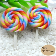 Kawaii Clay Red Lollipop For DIY  mobile phone case  Hair Clip Decoration Supplies Embellishment Scrapbooking