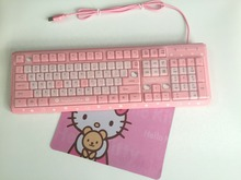MAORONG TRADING Hello Kitty laptop waterproof keyboard computer slim cartoon cute pink USB wired KT cat keyboard for girls