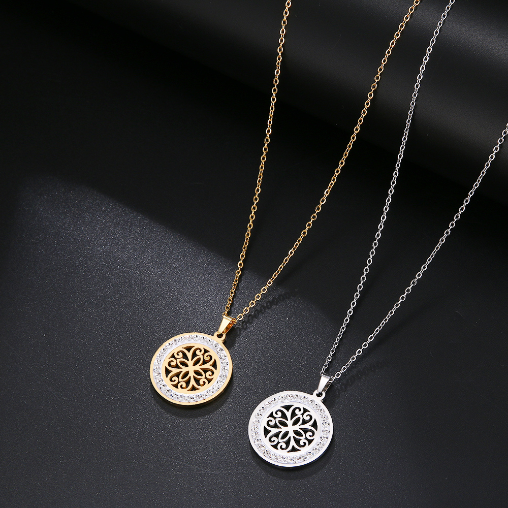 Cacana Stainless Steel Crystal Round Pendants Necklace Women Jewelry Hollow Trendy Necklaces Donot Fade Valentine's Day Gift (1)