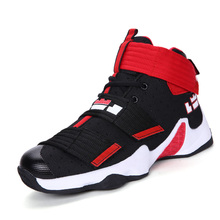 2017 New Brand Men Basketball Shoes High Top Athletic Trainers Men Boys Comfortable Outdoor Sport Shoes Black Red Mens Trainers