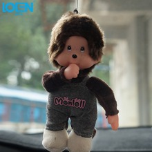 LOEN Cute bear doll Sucker hanging key chain car pendant coffee ornament Fur Accessories rearview mirror car decoration(China)