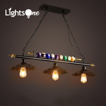 Retro Industrial Wind  LOFT Bar Billiards Room Creative Personality Cafe Restaurant Iron 3 heads Table Tennis pendant lights