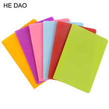 Business Cards 6 Colors Women Men Passport Holder Leather Bags Passport Cover Silicone Documents Folder(China)