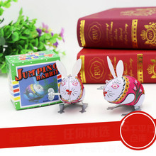 Handmade Clockwork Metal Chain Jumping Rabbit Gift Interesting Boys Girls Retro Pure Handmade Tin Toys for Children Toy(China)