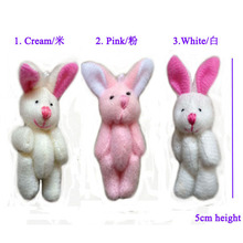 5cm lovely mini candy plush bunny mini jointed rabbit flower bouquet packing material 100pcs/lot   t