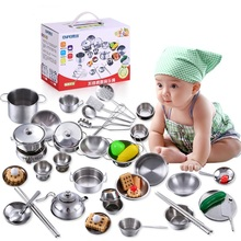 16PCS/Set Children Kids Stainless Steel kitchen toys Cooking Tools Play Education Kitchen Accessories Toys Cookware Pot Pan W257(China)