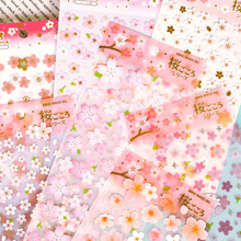 DIY Colorful Romantic cherry blossoms kawaii Stickers Diary Planner Journal Note Diary Paper Scrapbooking Albums PhotoTag