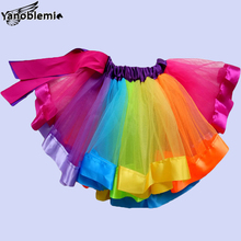 New Fashion Girls Brand Tutu Skirts Baby Childrens Chiffon Rainbow Net Yarn Pettiskirts Kids Dance Party Clothing High Quality