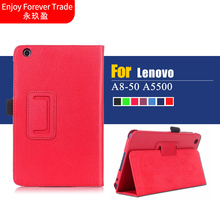 Luxury Lichee Folio Book PU Leather stand Colorful Case smart cover For Lenovo tab a8 A5500 A8-50 5500-h Tablet PC(China)