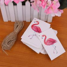 100pcs Mini Hang Tags Flamingo Bird Christmas Birthday Paper Gift Tags Labels Hanging Cards Xmas Trees Deor