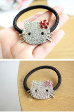Hello Kitty, Rhinestone Cat Hair Ring Hair Rope, Crystal Mosaic Hair Bands Jewelry  For Girl Women