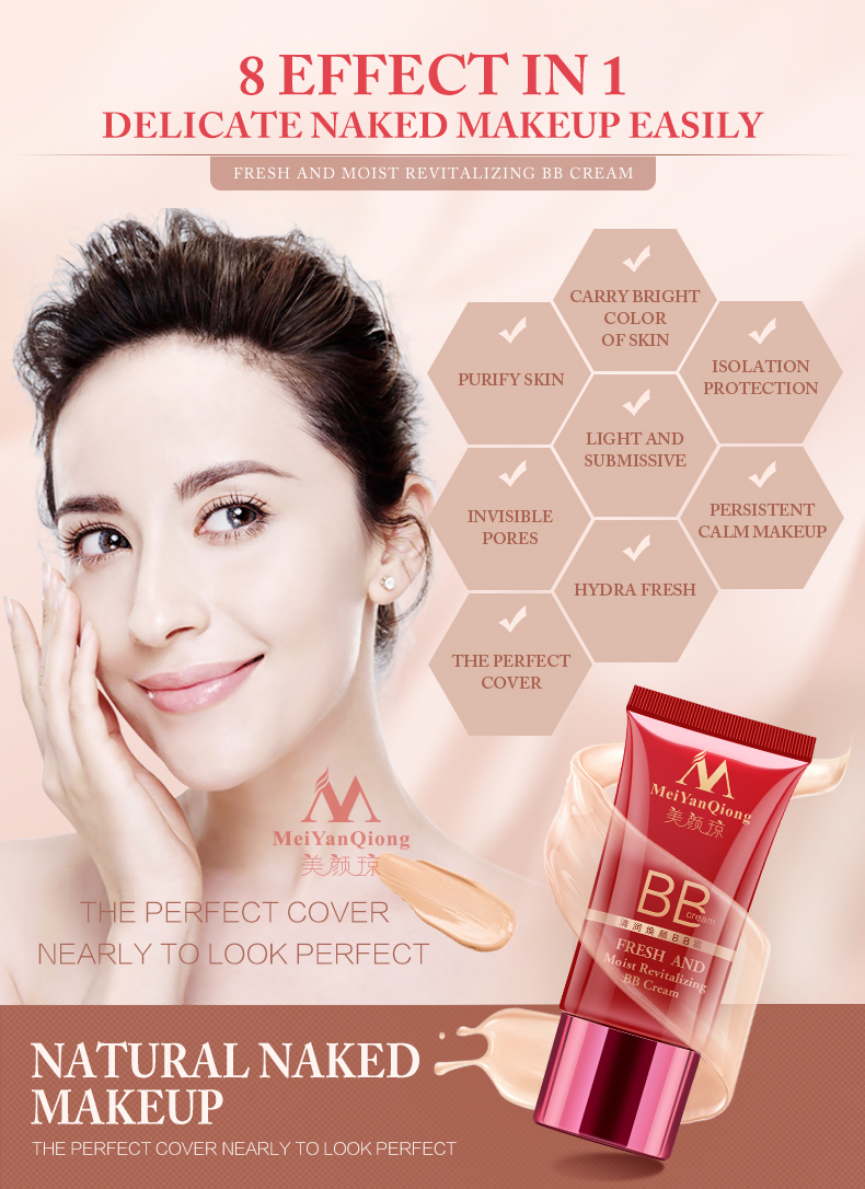 Buy 3 Get 1 Gift  Face Care Moist Revitalizing BB Cream 30g Whitening Compact Foundation Concealer Prevent Bask Skin Care