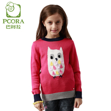 PCORA Girls Sweater Knitwear Cartoon Children Autumn Clothes Red and Purple Size 4T,5T,6T,8T,10T,14T Pullover Sweaters Kids(China)