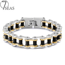 7SEAS Hot Sale Mans Sport Wristband Bracelet Bangle Black Gold Colors Biker Motorcycle Link 316L Stainless Steel Jewellery 7S858(China)