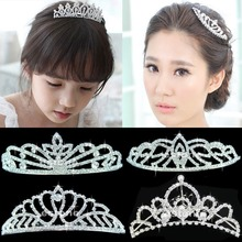 2017 Stunning Wedding Bridal Princess Crystal Prom Hair Tiara Crown Veil Headband Tiara New