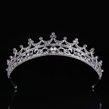 Silver Fashion Crystal Glass Tiara Crown for Women Hot sale Hair Jewelry Wedding Crown Hairwear Bride Tiara CY161117-133