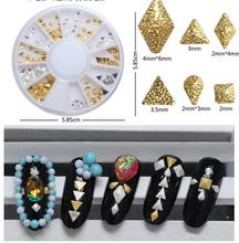120Pcs/Wheel 6Styles Diamond Nail Art Rivet Gold&Silver Nail Studs Rhinestones 3D Nail Art Decorations Stickers Nails Accesories