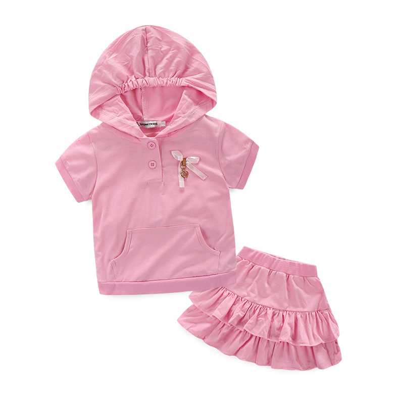 Two Piece Little Girl Clothes Set kids-Pullover Fall Girl Pijamas Infantil Tracksuit Girl Clothing Sets For Kids Short Sleeve(China)