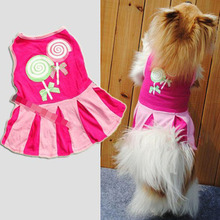 2017 Candy Pattern Puppy Dog Doggie Apparel Clothes Hoodies Skirt Dress New Free Shipping Aug 30