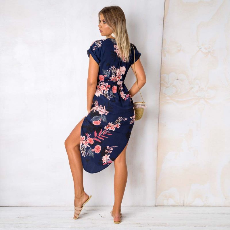 2018 Summer Dress Women Print V Neck Short Sleeve Robe Female Dresses Casual Sashes Midi Dress Ladies Elegant Vestidos Dropship 29
