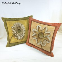 Wholesaler Cushion Cover Handmade Vintage Shabby Chic Wood White Flower Cushion Covers Party Houseware Decorative Ramadan Para S(China)