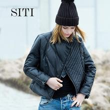 SITI New 2015 Winter Brand Down Jacket Women's Fashion PU Motorcycle Designer Stand Collar Black Short Down Coat S-XL