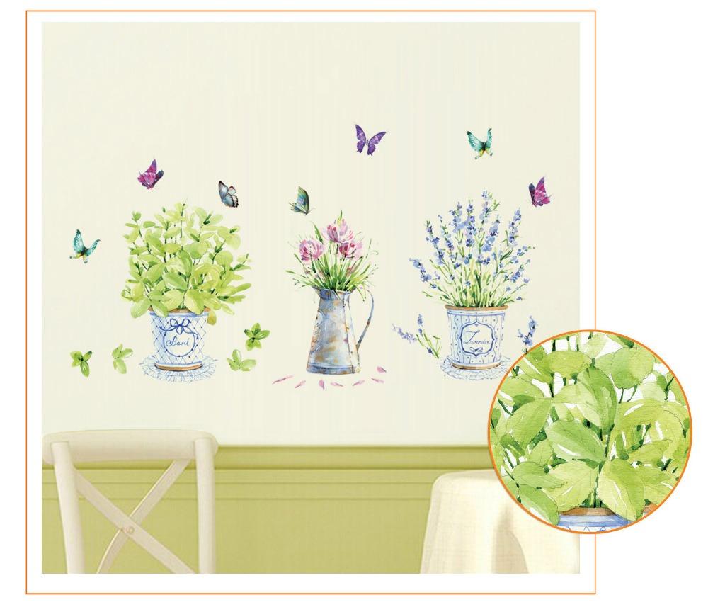 HTB1b eodbsTMeJjy1zcq6xAgXXaT - DIY wall stickers home decor potted flower pot butterfly kitchen window glass