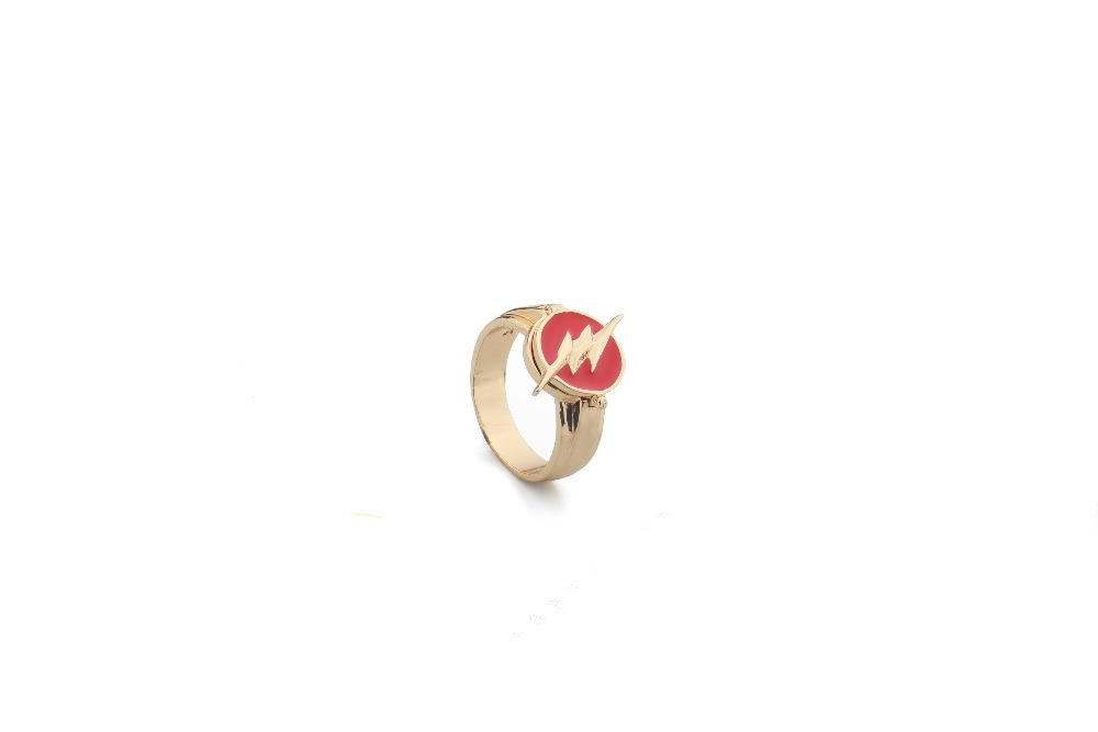 2017 Justice League The Flash Copper Ring Can be Opened Lightning Logo Superhero Cosplay Movie Jewelry Drop Shipping