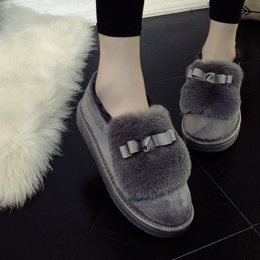 Naivety Plush Appliques Fashion Women Flat Ankle Faux Fur Lined Winter Warm Snow Loafers Shoes 30S61123 drop shipping<br><br>Aliexpress