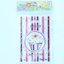 50pcs/lot of ice cream theme Plastic Gift bags for Children Birthday Party, vest bag for kids Candy bag(China)