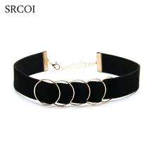 SRCOI New Arrival Metal Round Hoops Black Velvet Chokers Necklaces Goth Gothic Gold Color Circled Collar Necklace Female 2017