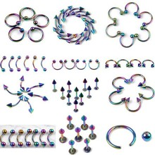 Mix Piercing Wholesale 60Pcs/lot Stainless Steel Eyebrow Lip Piercing Labret Body Jewelry Tunnels Ear Tragus Piercing Tongue(China)