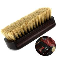 Boot Shoes Brush Cleaner Shine Shoe Polish Buffing Brush Pig Bristles Hog Bristle Brush With Wood Handle