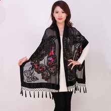 Chinese Women Velvet Silk Beaded Shawls Vintage Handmade Embroidery Scarves Scarf Long Fringe Pashmina Butterfly Cape Stole