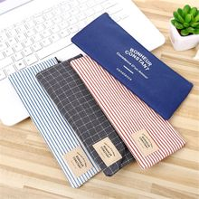 1PC School Supplies Grid Zipper Organizer Canvas Pencil Case Cosmetic Pouch Stationery Storage Makeup Bag