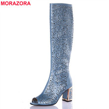 MORAZORA 2017 new high quality cut outs women sandals open toe high heels solid cokor summer boots gladiator shoes